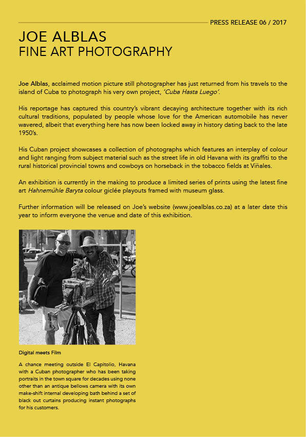JOE ALBLAS FINE ART PHOTOGRAPHY ~ PRESS RELEASE